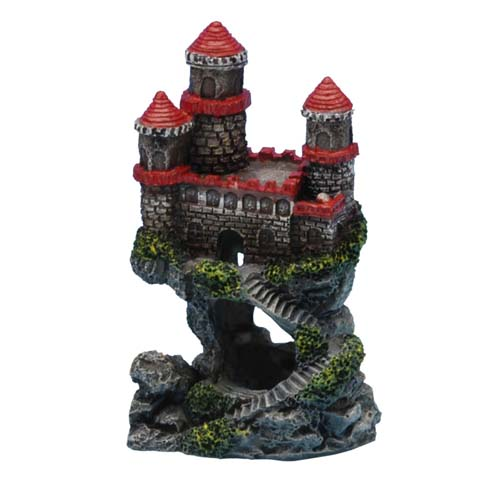 PENN PLAX Dekorace Hrad 10cm s červenou střechou