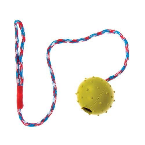 TP Hračka pro psy míček na laně s rolničkou 5-7cm/30-40cm