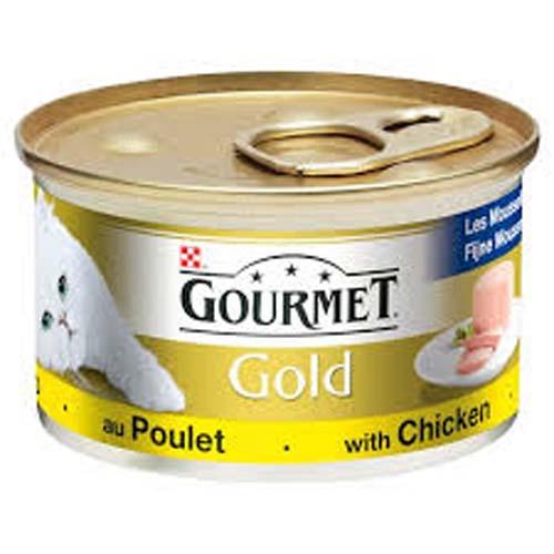 GOURMET GOLD s kuřetem a játry 85g masové kousky ve šťávě pro kočky