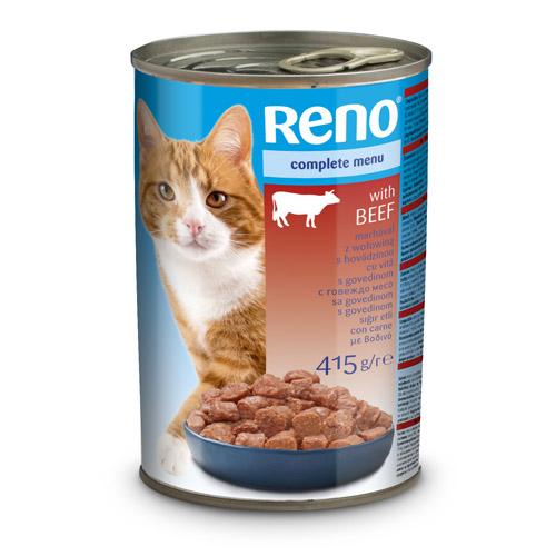 RENO konzerva pro kočky kousky hovězí 415g