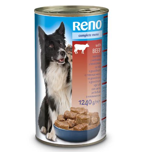 RENO konzerva pro psy kousky s hovězí 1240g