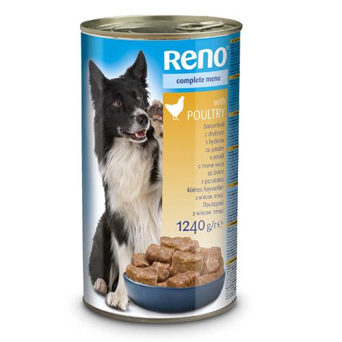 RENO konzerva pro psy kousky drůbež 1240g