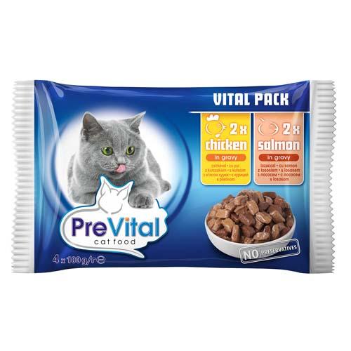 PreVital kapsičky pro kočky 4x100g kuře a lolos v omáčce (pack)