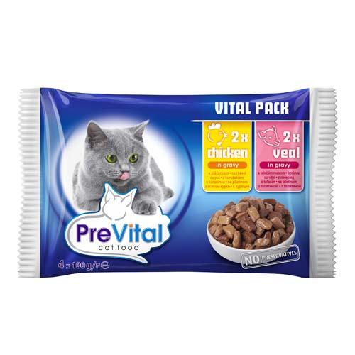 PreVital kapsičky pro kočky 4x100g kuře a telecí v omáčce (pack)