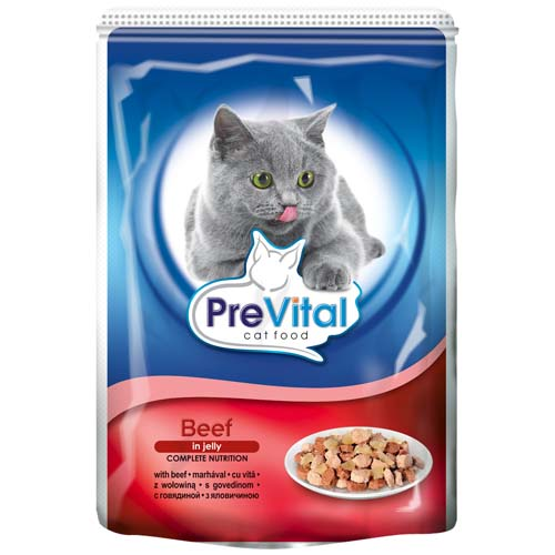 PreVital kapsičky pro kočky 100g hovězí v želé