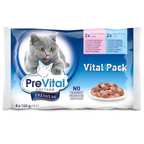 PreVital Premium kapsičky pro kočky 4x100g losos a pstruh + losos a krevety v želé (Vital Pack)
