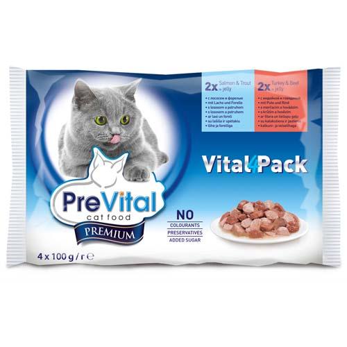 PreVital Premium kapsičky pro kočky 4x100g losos a pstruh + krúta a hovězí v želé (Vital Pack)