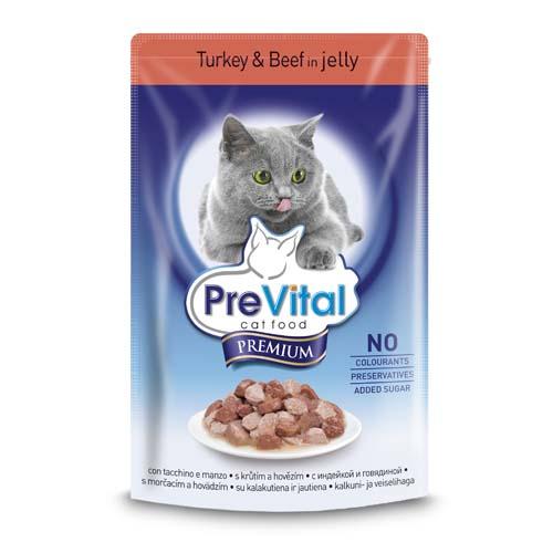 PreVital Premium kapsičky pro kočky 100g krútí a hovězí v želé