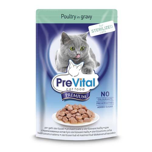 PreVital Premium kapsičky pro starilizované a kastrované kočky 100g kuřecí v želé