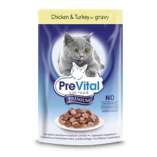 PreVital Premium kapsičky pro kočky 100g kuře a krúta v omáčce