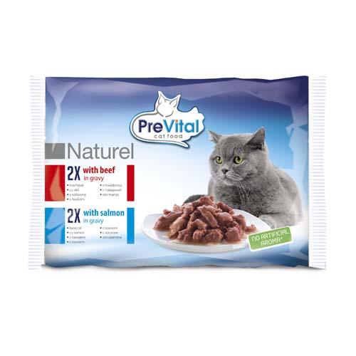 PreVital Premium Naturel kapsičky pro kočky 4x85g hovězí a losos v omáčce