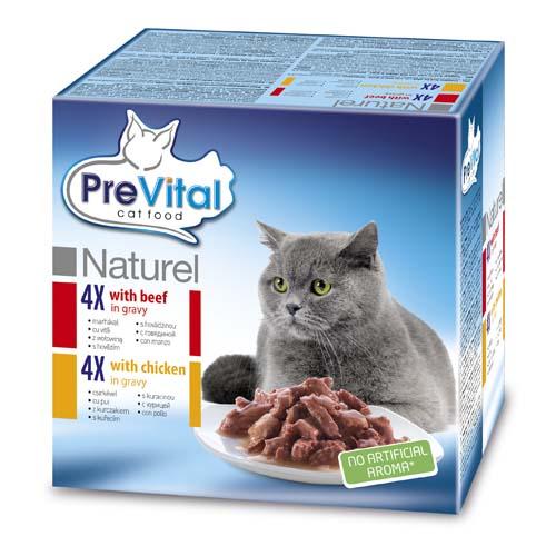 PreVital Premium Naturel kapsičky pro kočky 8x85g hovězí a kuracie v omáčce