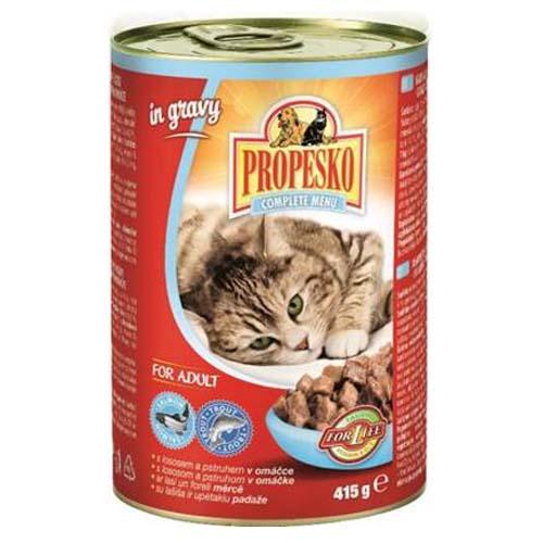 PROPESKO Konzerva pro kočky pstruh a losos 415g