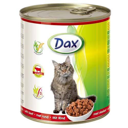 DAX konzerva pro kočky 830g hovězí masové kousky